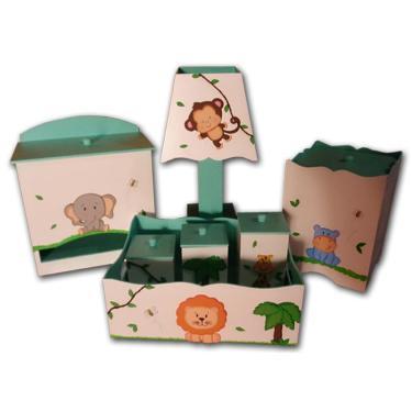 Kit Higiene para bebê Mdf Bichinhos da Floresta Amiguinhos Safári Verde