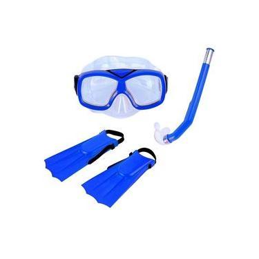 Kit Infantil de Mergulho e Snorkel Azul Diver Nautika