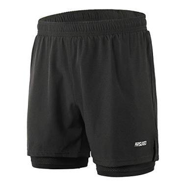 Shorts de corrida masculino 2 em 1 Funien – Short de secagem rápida respirável para treino ativo exercício corrida maratona ciclismo – verde militar tamanho G