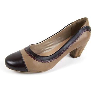 Sapato Scarpin Salto Grosso Linha Social Elegance Miuzzi - 3505 - Taupe