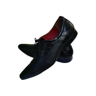 Sapato Masculino Italiano em Couro Preto Crhomo e Croco Oxford Ref: 767