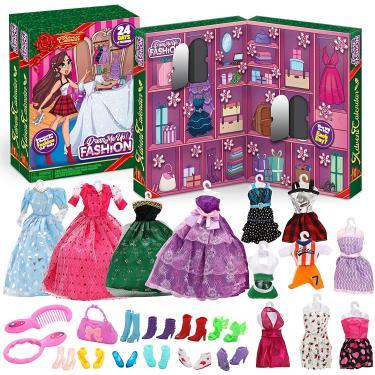 Imagem de JOYIN 2020 Girls Advent Calendar com acessórios de boneca Brinquedos Meninas Natal 24 Dias Calendário de Contagem Com Boneca Vestir Roupas e Acessórios Conjunto