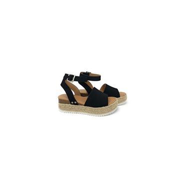 Sapatos femininos da praia da palha planas preto tamanho 38