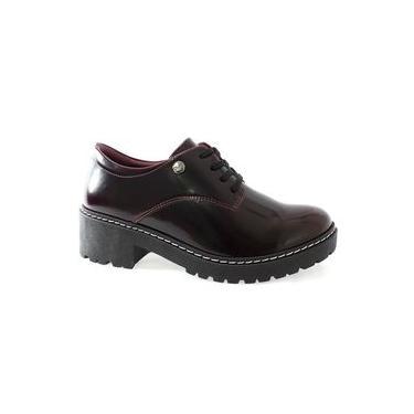 Sapato Oxford Verniz Quiz Feminino Bordô