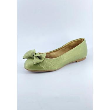 Sapatilha Bico Redondo Michelle Calçados Femininos Verde Enfeite Laço Manual  feminino