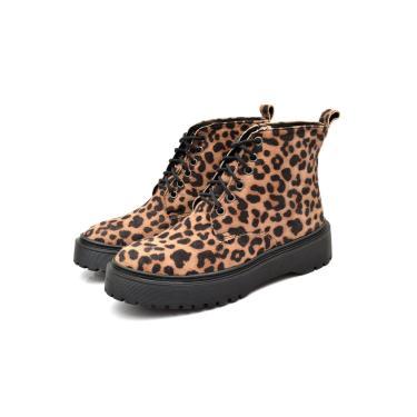 Imagem de Bota Coturno Casual Urbano Conforto Feminina JL Shoes Onça  feminino