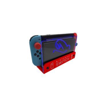 Suporte Bancada/Parede Nintendo Switch Iluminado - Mario Odyssey - Base Vermelho LED Azul