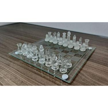 Jogo De Xadrez Profissional Tabuleiro E Peças De Vidro Luxo