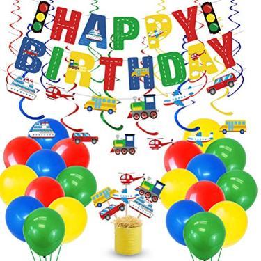 Imagem de LUOZZY Conjunto de faixa de aniversário com tema de veículo de transporte de 65 peças e conjunto de balões espirais com design de carro, bandeira de bolo e pingente de teto para pendurar, artigos de decoração de festa de aniversário