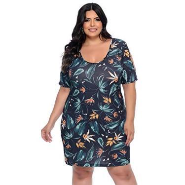 Vestido Plus Size Folhagem Vibrante-46