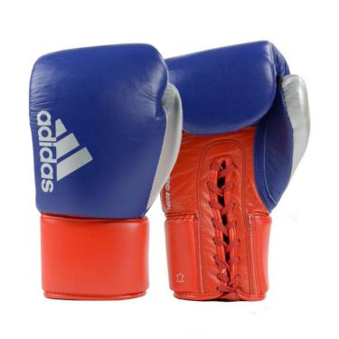 Luva De Boxe Muay Thai Hybrid Azul Com Vermelho 18 Oz Adidas