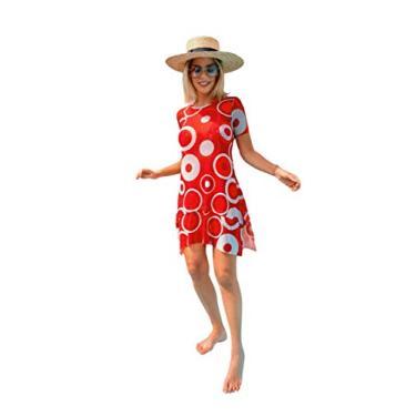Vestido midi em malha de tule Essential com babados que não amassa saída de praia Donna Brasiliana (Estampa Triângulos Terrosos, G)