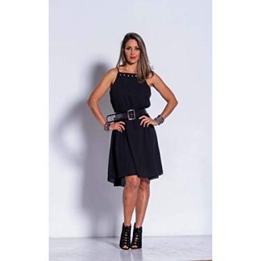 Vestido básico em crepe com elastano e detalhe de ilhoses clássico sofisticado Donna Brasiliana (Preto, G)