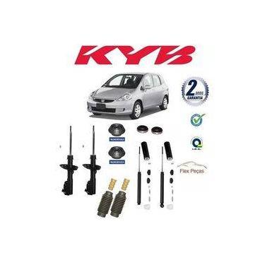 Kit 4 Amortecedores Kayaba + Kits Honda Fit Axios 2003 2004 2005 2006 2007 2008