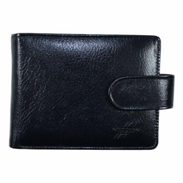 Carteira Masculina c/fecho Couro Porta Cartão Cheques e Moedas Preta nz028