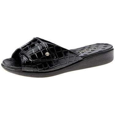 Sandália com Velcro Malu Super Comfort Ester Feminino Preto 34