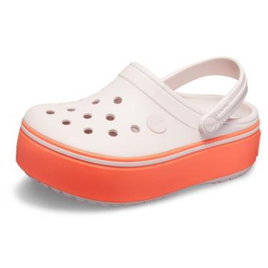 Sandália Crocs Crocband Platform Clog GS Rosa/Laranja  menina