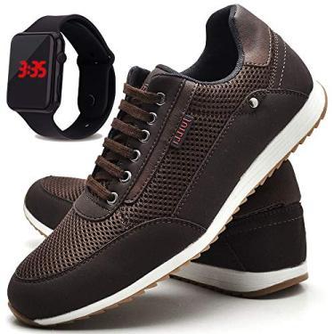 Sapatênis Sapato Casual Masculino Com Relógio JUILLI R1100DB Tamanho:45;cor:Marrom;gênero:Masculino