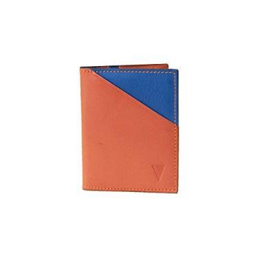 Carteira Ultra Pequena de Couro | Pocket Vbrüm Laranja e Azul