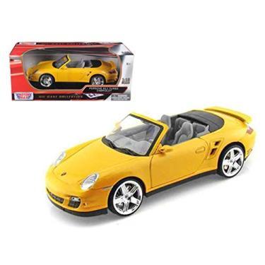 Imagem de Porsche 911 (997) Turbo Convertible Yellow 1/18 Diecast Car Model by Motormax