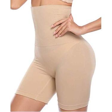 Imagem de Cinta Modeladora Redutora Shorts Fitness Feminina Shortslim Pós-Parto Alta Compressao Afina Reduz Cintura e Coxas Levanta Bumbum (Bege, G)