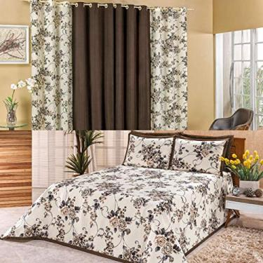 Imagem de Kit Quarto Cobre Leito Colcha Casal Queen Tecido Estampado + Cortina 2,00m Floral Marrom