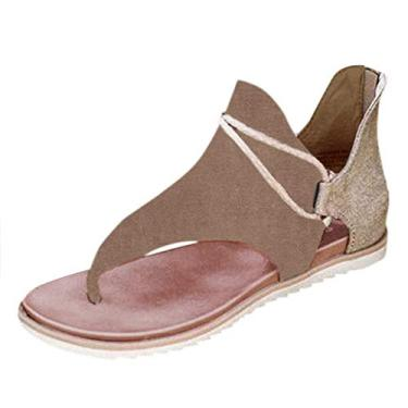 Imagem de KCRPM Sandália feminina Gladiator para verão, praia, sem salto, tira em T, bico aberto, casual, sapatos romanos (Cáqui, 35)