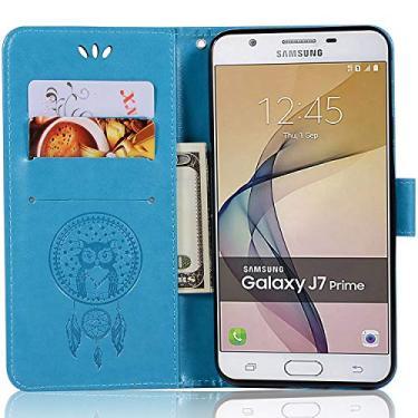 Capa de couro para Samsung Galaxy On7 (2016), capa carteira para Galaxy On7 (2016), capa flip floral em couro PU com suporte para cartão de crédito para Samsung Galaxy On7 de 5,5 polegadas (2016)