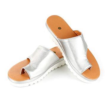 Sandália feminina confortável plataforma, sapatos de viagem de verão na praia, sapatos de couro PU, sandálias ortopédicas com parte inferior grossa, Prata 38, 38 M EU