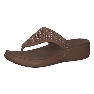 Imagem de Crocs Women's Monterey Embellished Wedge Flip Sandal, Bronze, 4