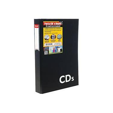 Porta CDs Duplo Chies com 4 Separadores em Polipropileno para 40 Mídias Preto