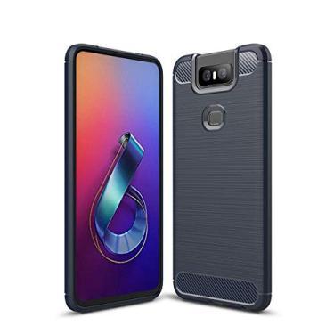 Capa Capinha Anti Impacto Para Asus Zenfone 6 Zs630kl Case Com Desenho Fibra De Carbono Shock Queda - Danet (Azul escuro)