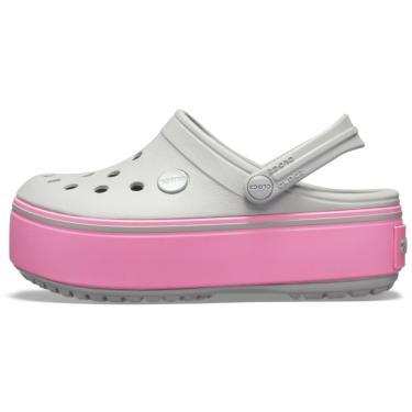 Sandália Crocs Crocband Platform Clog GS Cinza Pink  menina