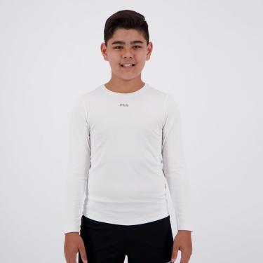 Camiseta Fila Sunprotec Juvenil Manga Longa Branca - 12 ANOS