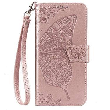 JZ Capa de celular borboleta e flor para Samsung A51 4G série em relevo capa carteira flip com [alça de pulso] - Ouro rosa