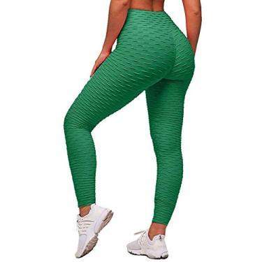 Memoryee Calça legging feminina de cintura alta para ioga, Light Green, M