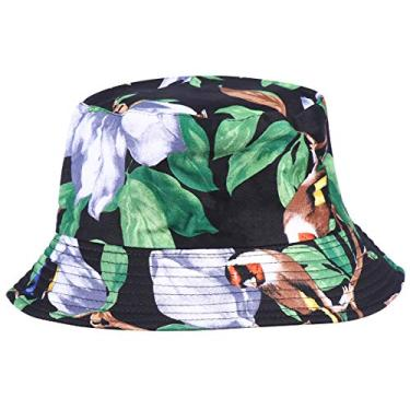 PRETYZOOM Chapéu de sol reversível com estampa de leopardo, chapéu de pescador com proteção solar para mulheres (flor roxa)