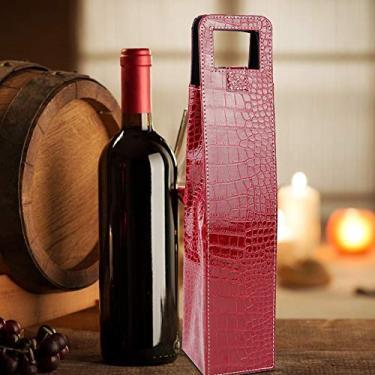Imagem de Bolsa para presente de cerveja, couro reutilizável vermelho/preto, bolsa de vinho de poliuretano, portátil de 41 cm para embalagem de presente de vinho em casa (crocodilo vermelho)