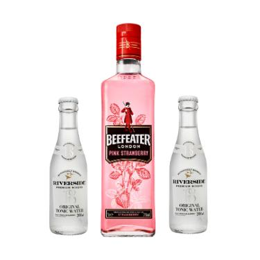 Gin Beefeater Pink 750ml + 2 Aguas Tonicas Riverside Original 200ml