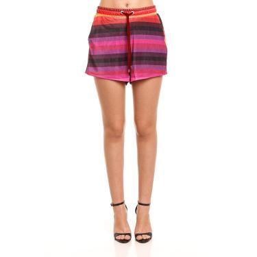 Shorts Veludo Estampado, Forum, Feminino, Multicolorido, P