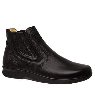 Botina Masculina Esporão 3054 em Couro Floater Preto Doctor Shoes-Preto-42