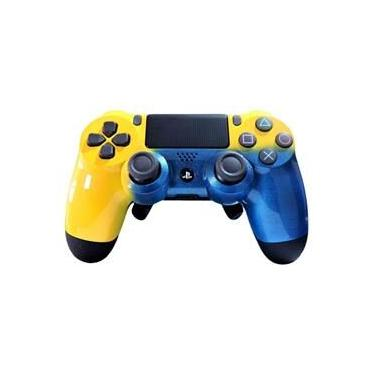 Controle Ps4 Pro Gamer Yellow Blue (Grip/Padlles/Trigger)