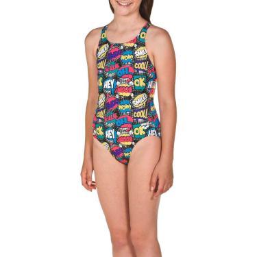 Maiô Infantil Teen Swim Pro Back Jr Preto-Colorido Tam 12-13