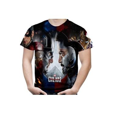 Camiseta Masculina Guerra Civil Marvel Civil War Estampa Total Md01