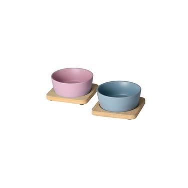 Imagem de Jogo de Petisqueira Lyor, 4 Peças, Cerâmica, Bandejas de Bambu - 7976