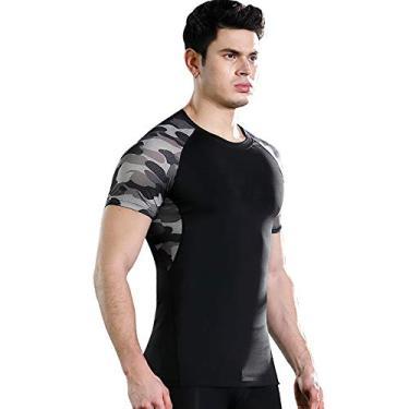 Camiseta Esportiva, Andoer Camiseta masculina de compressão de verão de secagem rápida respirável bodycon camuflagem estampa emendado para treino de ginástica para corrida