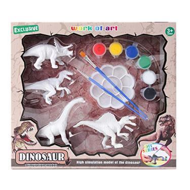 angwang Kit de estatuetas de dinossauro, pintura de dinossauros, artes artesanais, decorar suas próprias estatuetas de dinossauro, brinquedos para crianças a partir de 4, 5, 6, 7, 8, 3#
