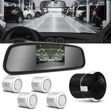 Sensor de Estacionamento 4 Pontos Prata Com Câmera de Ré e Retrovisor Display LCD 4,3' Universal