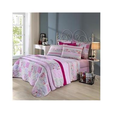 Imagem de Jogo de cama duplo casal 150 fios linha Prata estampa Jully Rosa - Santista
