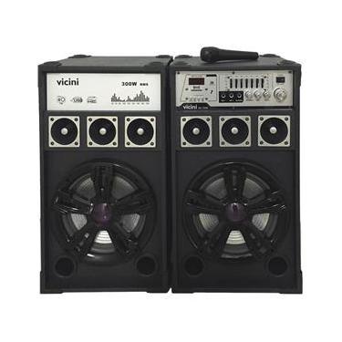 Conjunto 2 Caixas Acústicas com MP3, FM, Bluetooth, Microfone, 300WRMS, Entradas USB, SD e Guitarra Vicini VC-7300